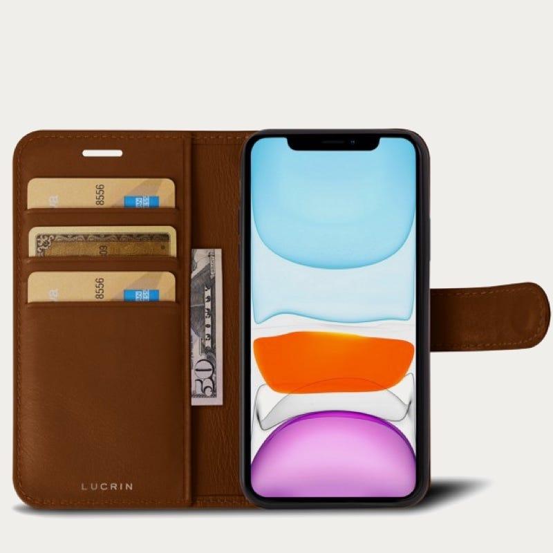 Capa/Carteira para iPhone 11 Pro Max - Castanho Tan - Couro Suave