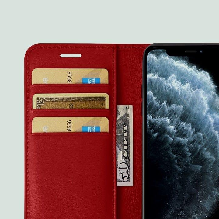 Capa/Carteira para iPhone 11 Pro Max - Vermelho - Couro Suave