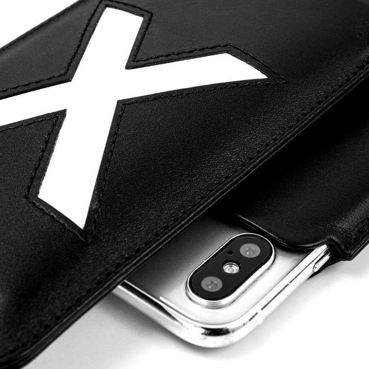 Capa para iPhone X Edição Especial - Preto-Branco - Couro Suave
