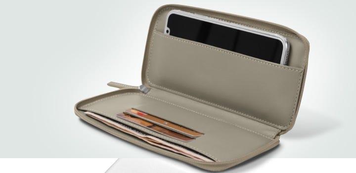 Bolsa de pele com fecho para iPhone X - Taupe Claro - Couro Suave