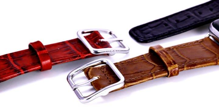 Bracelete Elegance para relógio Apple Watch Series 5 - (44 mm) - Camel - Couro de Bezerro - Estilo Crocodilo